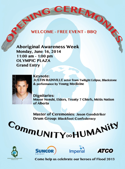 Poster for the Aboriginal Awareness Week Opening Ceremonies in Calgary AB.